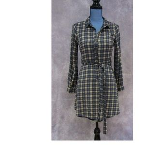Doe & Rae Blue Brown Plaid Shirt Dress Size S